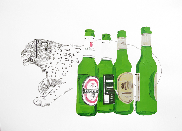 leopard and beer, 2007