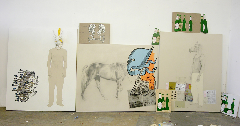 ways to win or lose (the hunt, the race, and all the dead soldiers), 2007, mixed media, 250 x 680 cm