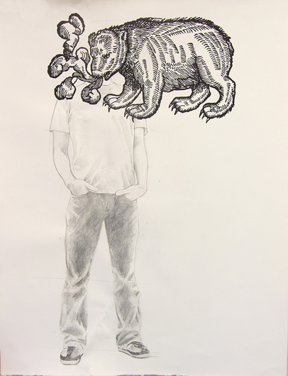 bearhead, 2008 graphite and live bear on paper