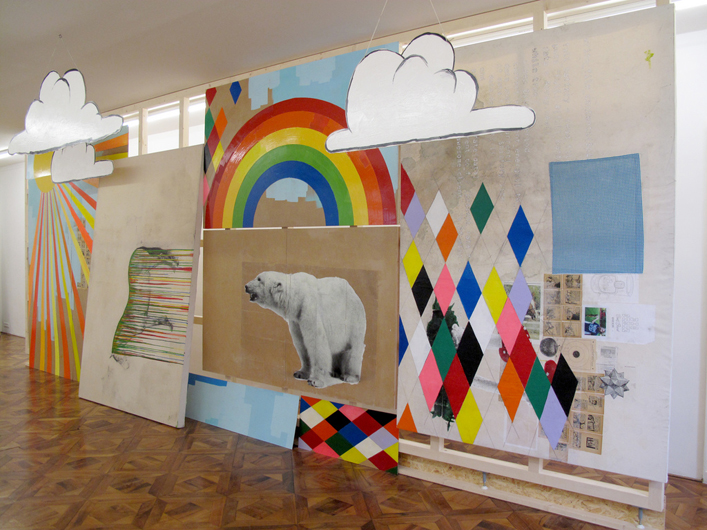 Big State (installation view) 2009, mixed media on wood, paper, and canvas. 700 x 320 cm.
