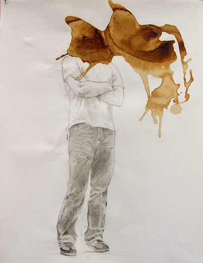 coffeehead, 2008, coffee and graphite on paper