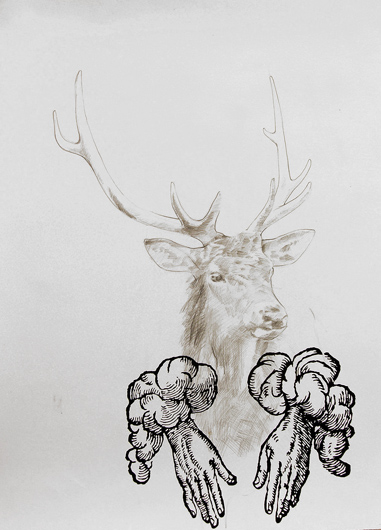 deer with hands, 2008, graphite and ink on paper