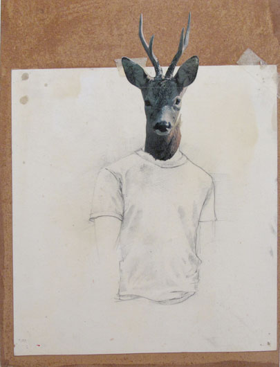 Deer-headed Boy, 2009 Collage and graphite on wood panel 26 x 38 cm