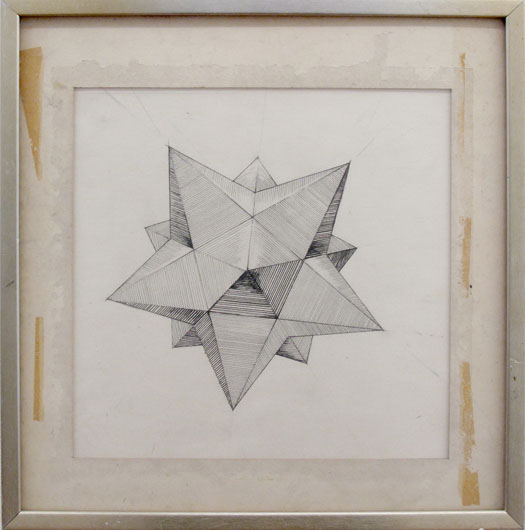 dodecahedron, 2009 graphite on paper in found frame 42 x 42