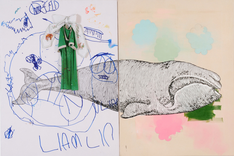 Liam´s whale, 2007 mixed media on canvas and printed polyester 150 x 230 cm, two panels