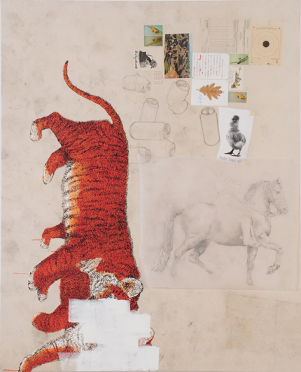 Ligerchen, 2007 Acylic, India ink, collage, pencildrawing on glassine on cotton 210 x 170 cm